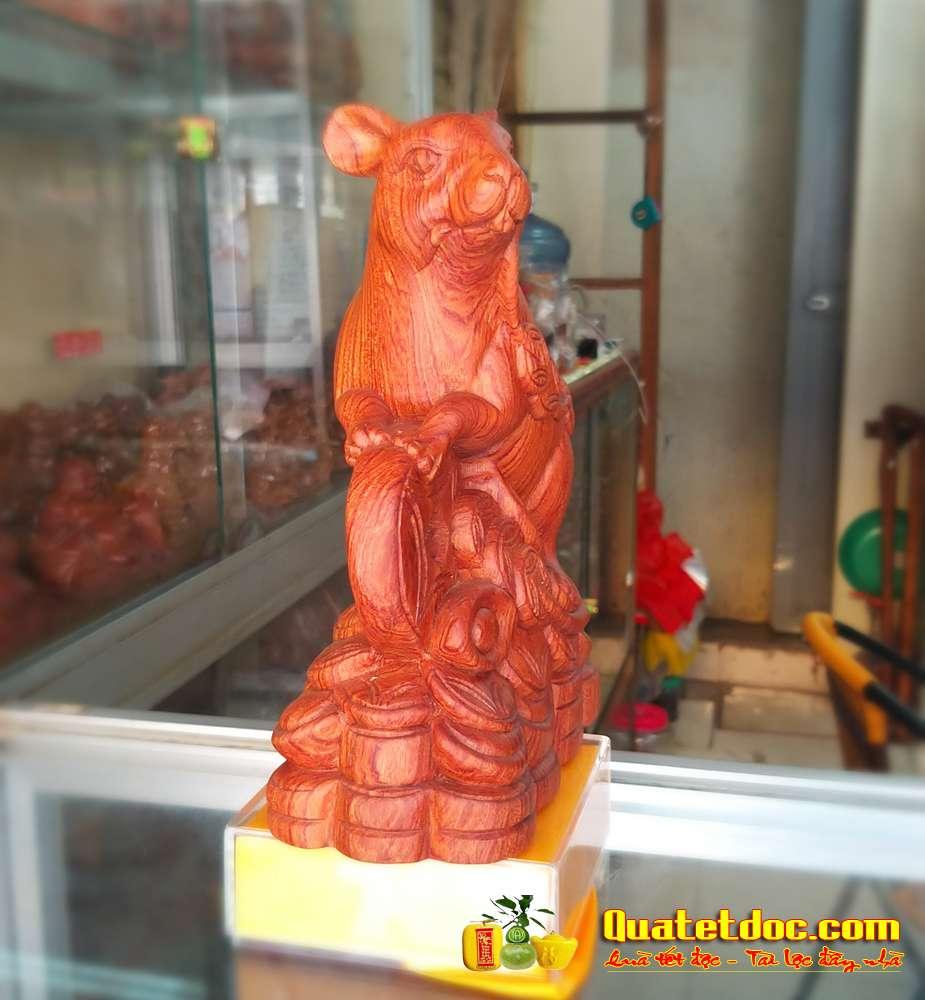 tượng chuột phong thủy gỗ hương